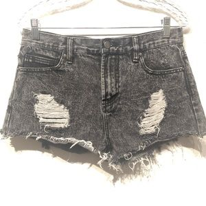 High waisted distressed shorts size 28
